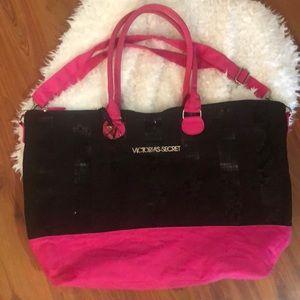 Victoria's Secret Black sequins pink tote bag